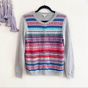 Talbots fair isle knit button up cardigan sweater